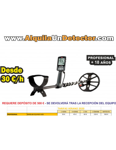 Alquiler Profesional MINELAB EQUINOX 600